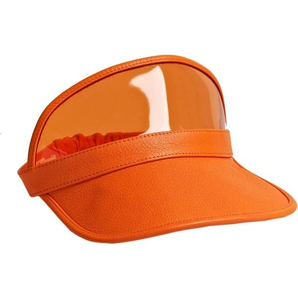Givenchy Women's Goat Leather Peak Visor ($135) ❤ liked on Polyvore featuring accessories, hats, givenchy, orange, headgear, peaked cap, cap hats, sun visor cap, 5-panel cap and orange hat