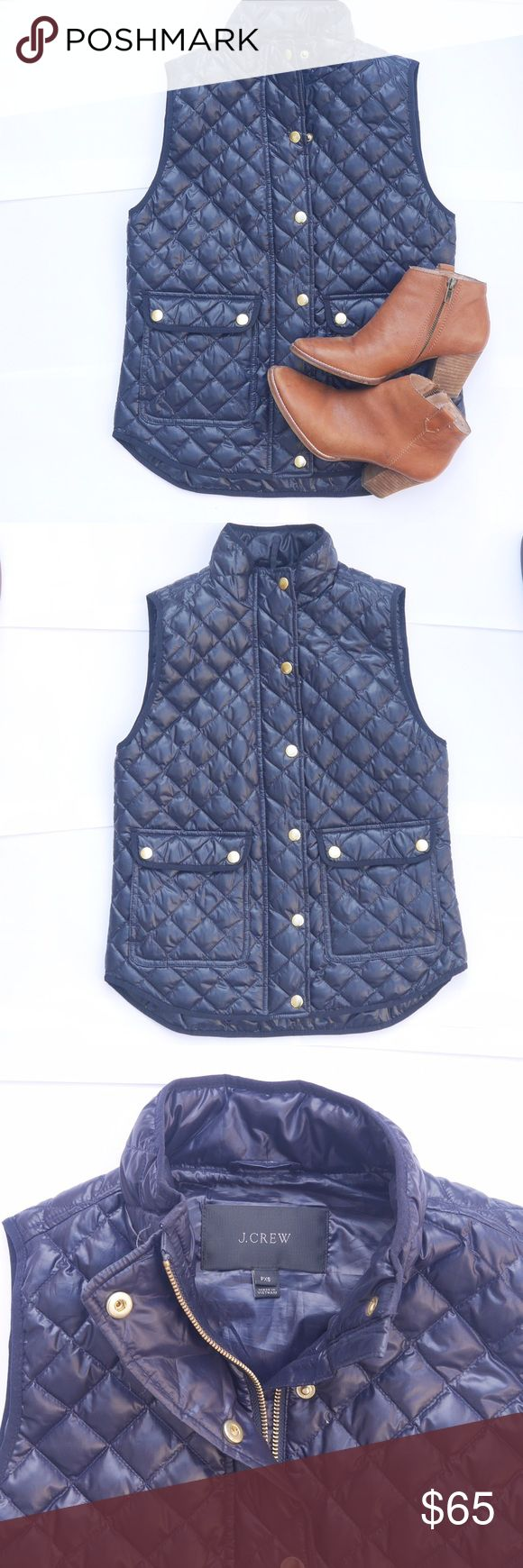 J CREW - Puffy Navy Vest Must have in every girls closet. NWOT never used J. Crew Jackets & Coats Vests