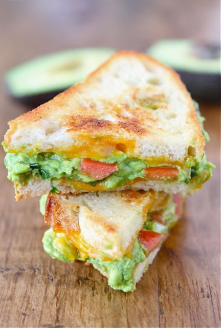 Cheat Day Meal: Guacamole Grilled Cheese with Garlic, Lime, Cilantro, and Cheddar Cheese