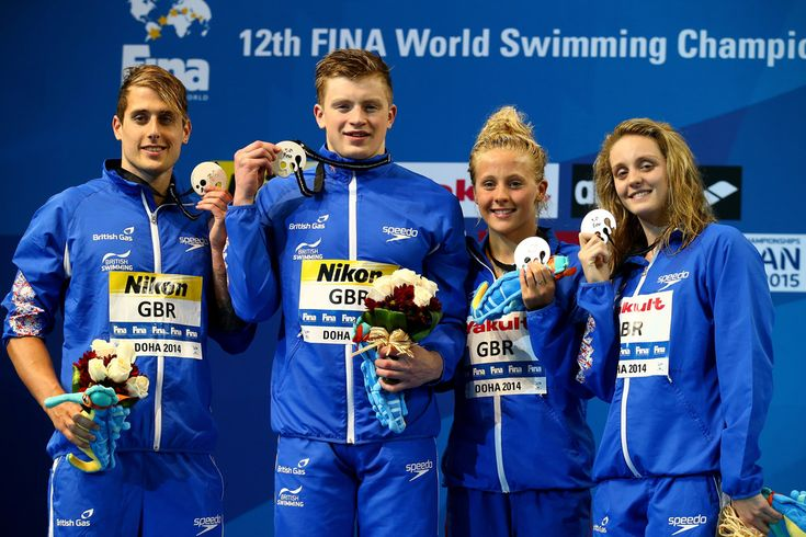 Chris Walker-Hebborn, Adam Peaty, Siobhan-Marie O'Connor and Francesca Halsall of Great Britain