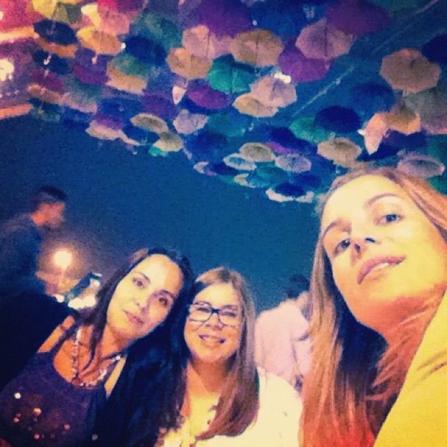 Andreia Nogueira with her friends in AgitÁgueda tent :*) #Agueda #Agitagueda2014 #Art #streets #umbrellas
