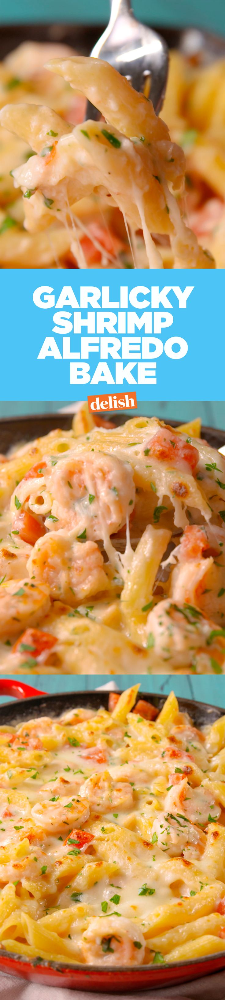 Garlicky Shrimp Alfredo Bake is full of all your favorite flavors. Get the…