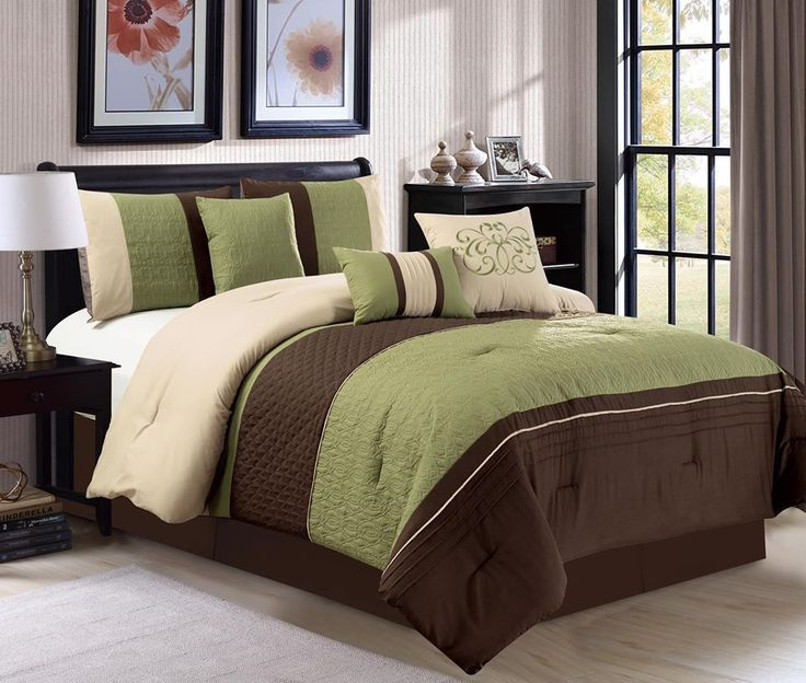 7 Pc King Clamshell Trellis Scroll Embossed Sage Green Brown Beige Comforter Set #PearlCollection #Contemporary