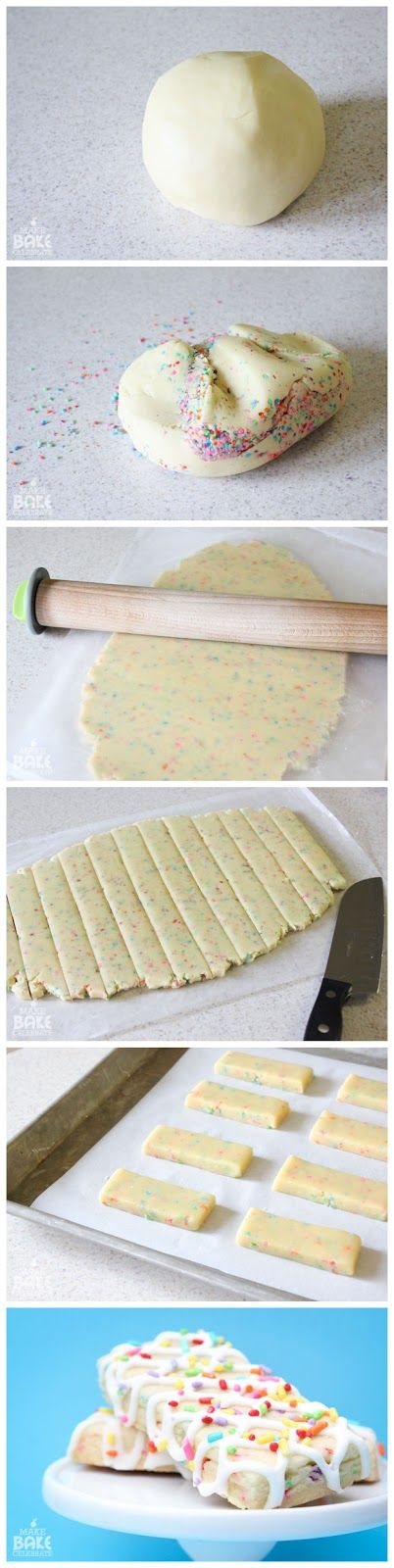 Birthday Cake Cookie Bars – Colorburst Batter Bits, how could I have never thought about making cookies in a bar shape????? Really good idea
