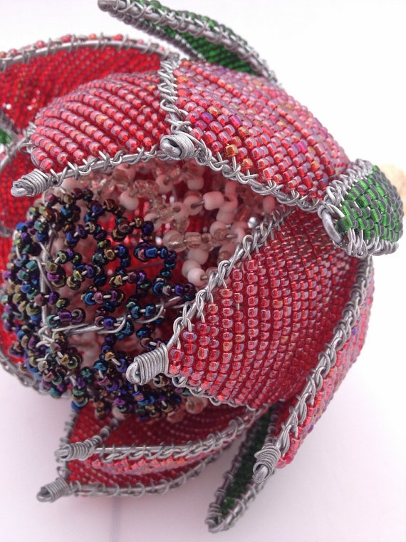 Beaded Protea Bouquet by KinksCreations on Etsy, $50.00