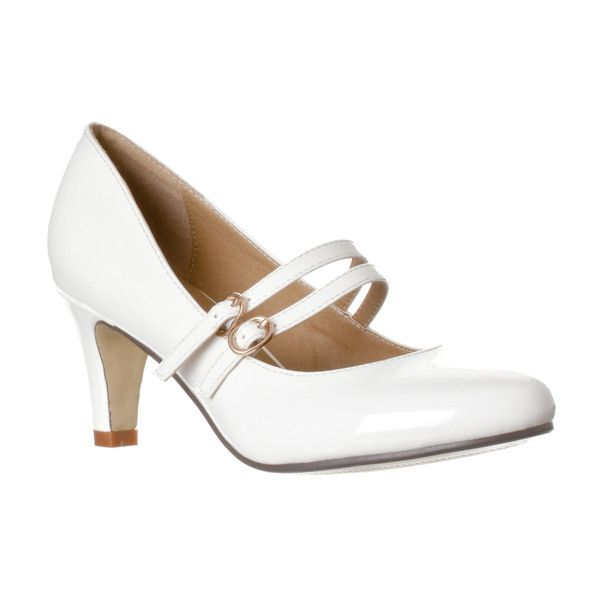 Women's Riverberry Women's 'Mila' Chunky Mid Heel Mary Jane Pumps ($28) ❤ liked on Polyvore featuring shoes, pumps, pumps & heels, white, white mary jane pumps, white mary jane shoes, white shoes, round toe mary jane pumps and evening pumps