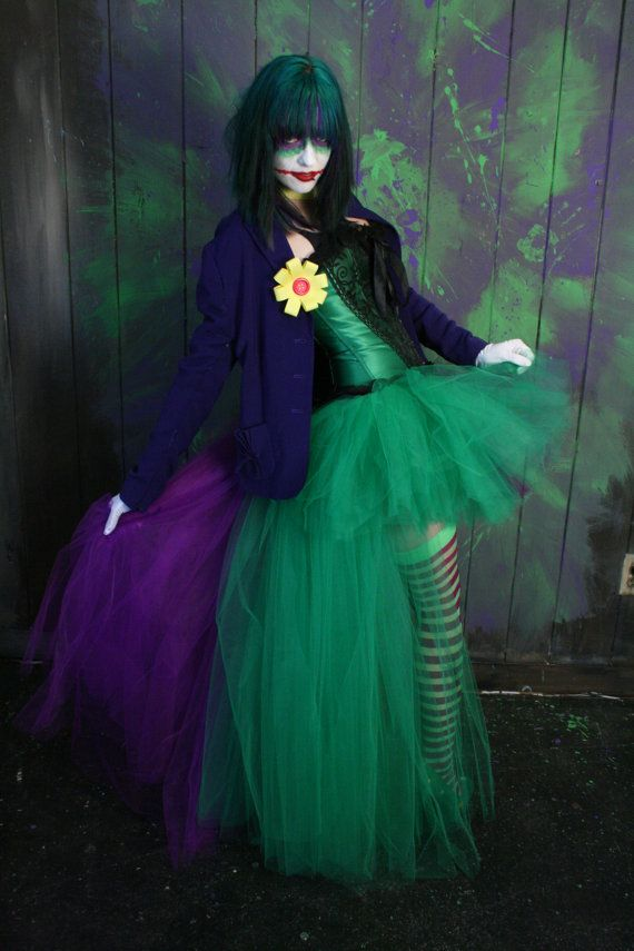 The Joker Adult tutu skirt Cosplay formal bustle trail bridal dance costume purple green - Ready to ship - Small - Sisters of the Moon
