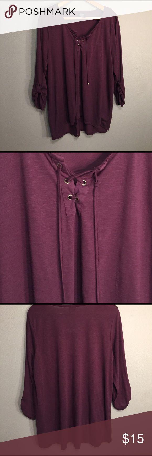 *50% OFF BUNDLES* High low purple tie front blouse High low purple 3/4 sleeve blouse Tops Blouses