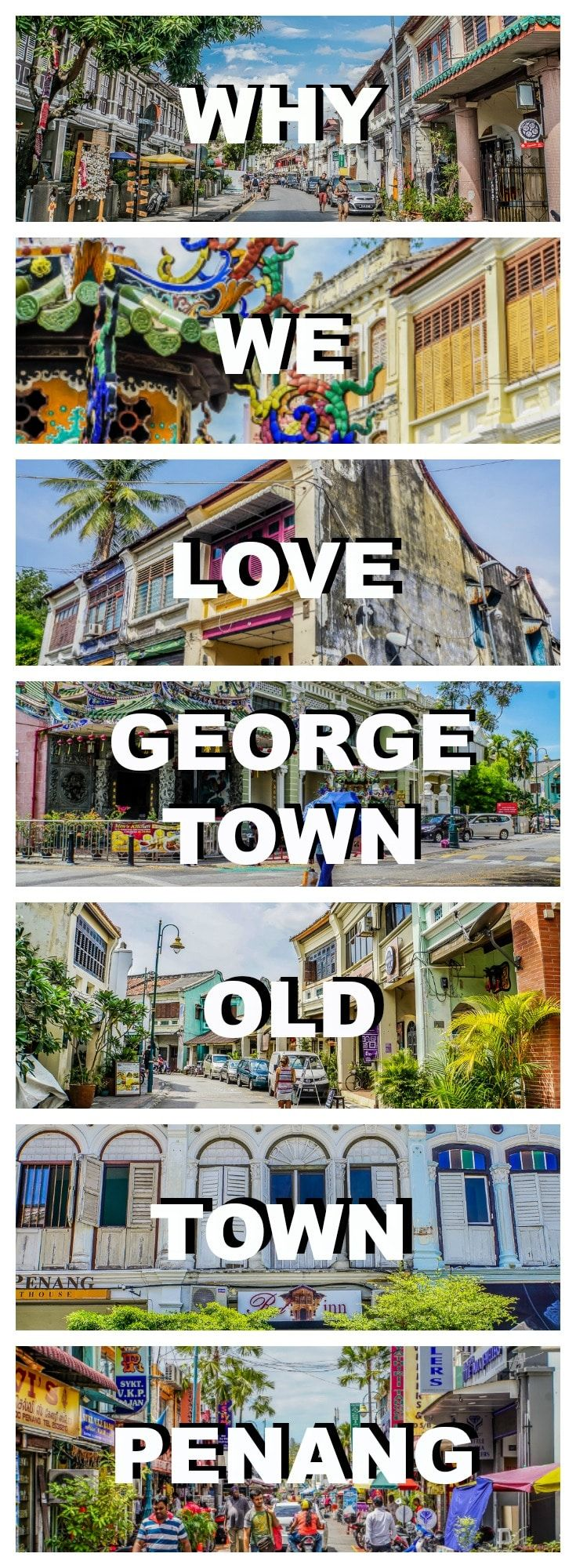 Georgetown old town in Penang, Malaysia, is one of our favourite places in the world. Check out why we love the UNESCO World Heritage Site so much.  Visit George Town | Visit Penang | Visit Malaysia | Visit Old Town Penang | Top place to visit in Malaysia | Things to in George Town | Malaysia Travel | Where to go on Malaysia | South East Asia Backpacking