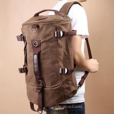 Men Vintage Canvas Backpack Rucksack Laptop Shoulder Outdoor Satchel Duffle Bag
