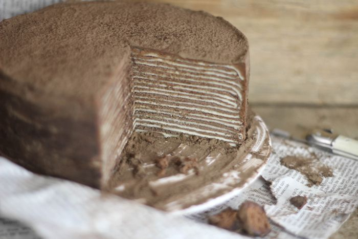 Sprinkle Bakes: Chocolate Amaretto Crêpe Cake. I want to try my hand at this!