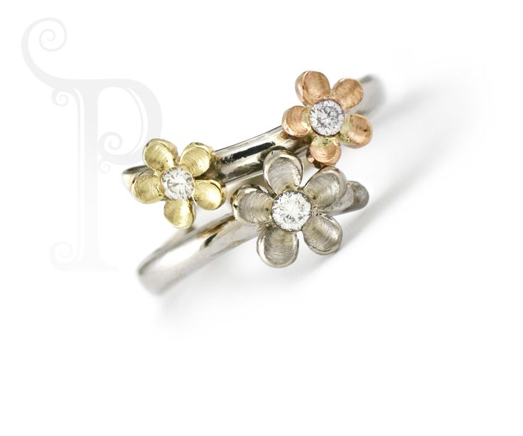 "Handmade 9ct Yellow, White & Rose Gold ""May"" Blossom  Ring, Set with Small round Brilliant Cut Diamonds"
