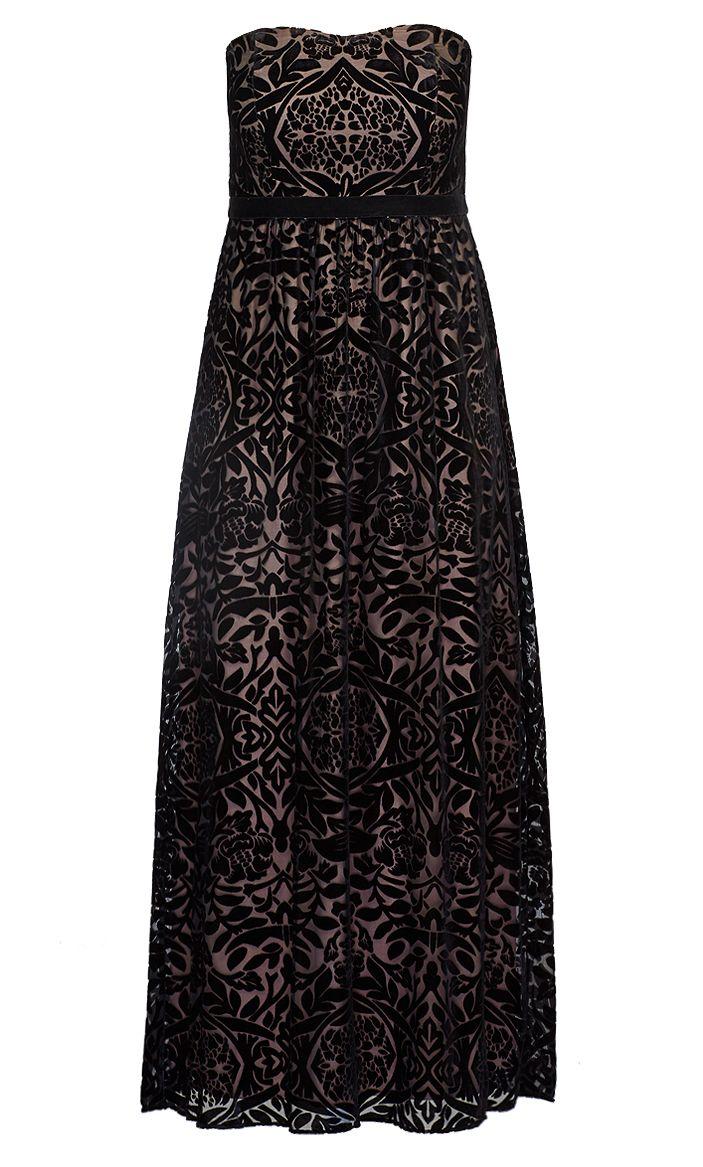 City Chic - VELOUR BURNOUT MAXI DRESS - Women's Plus Size Fashion