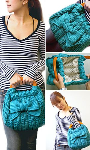 Cute bow handbag - free pattern in English