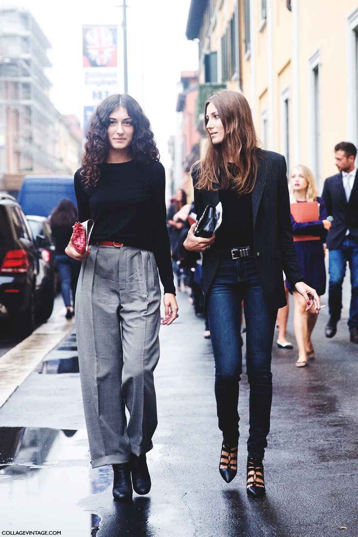 fs black long sleeve tee + grey wide leg pants | black tee + black blazer + blue skinny jeans + lace up heels | mfw ss15 Giulia Tordini + Georgia Tordini