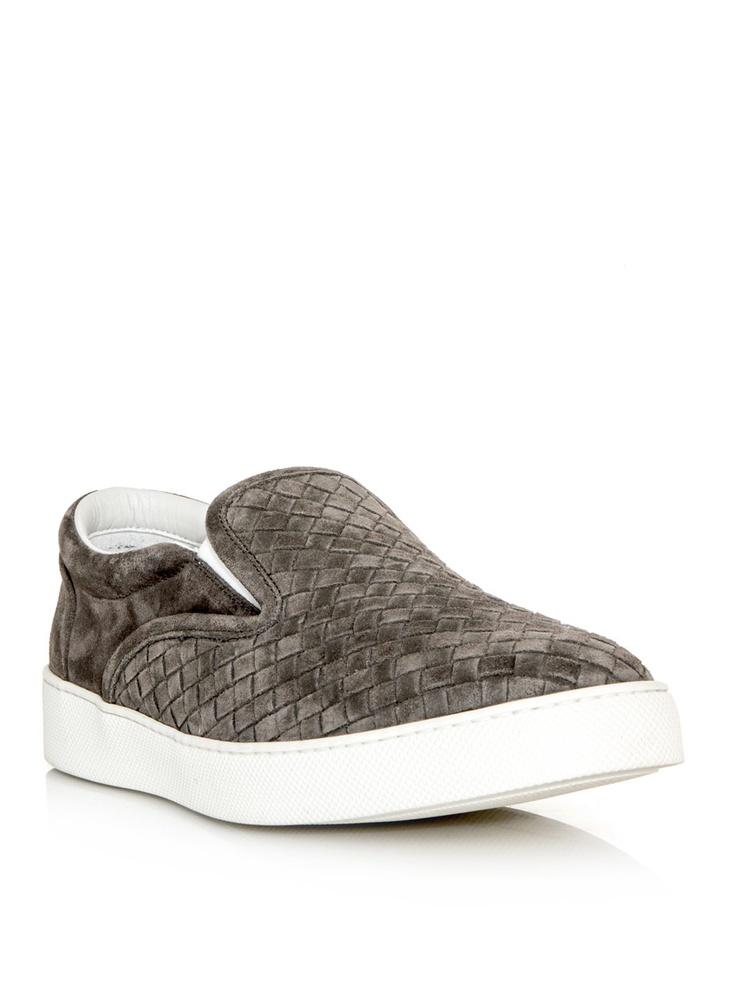 AMI Alexandre Mattiussi Brown Suede Intrecciato Slip-On Sneakers jJLH45