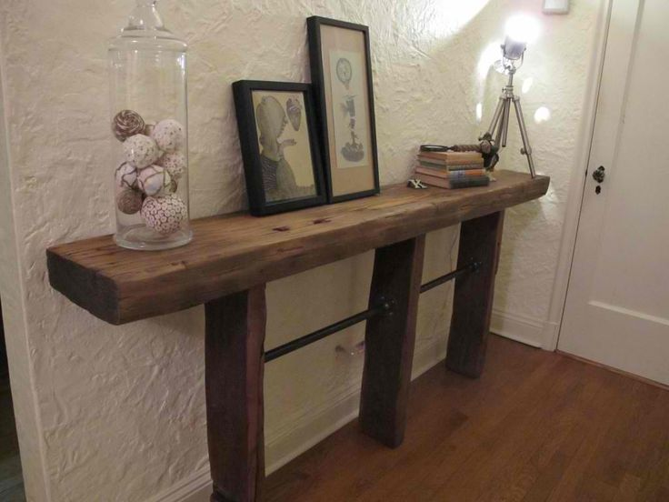 Pipe Side Table | 21 Super Cool Reclaimed Wood Craft DIY Ideas