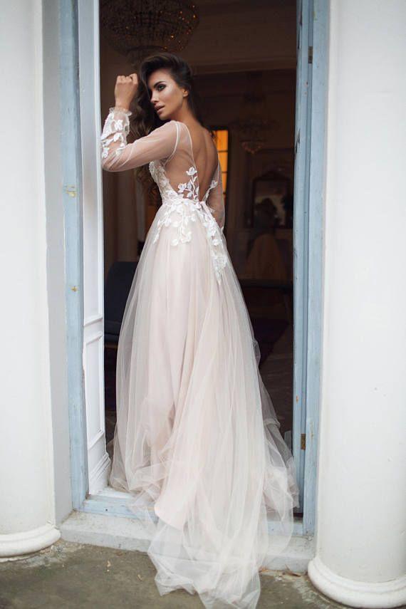 Bohemian wedding dress long sleeve Tara open #weddingdress