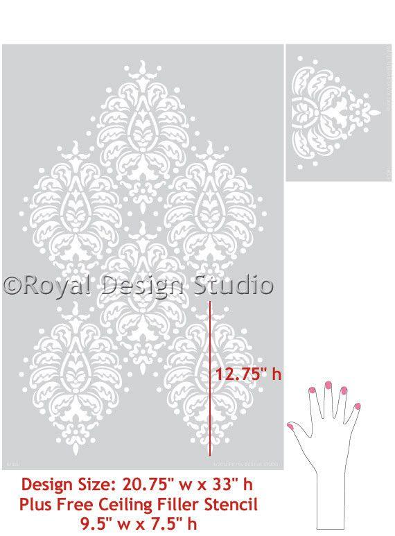 Paisley Stencils | Bombay Paisley Damask Wall Stencils | Royal Design Studio