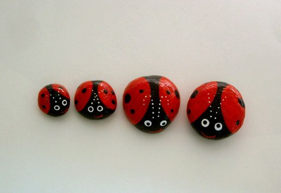 Ladybug red painted rocks miniature fairy garden accessories by RockArtiste