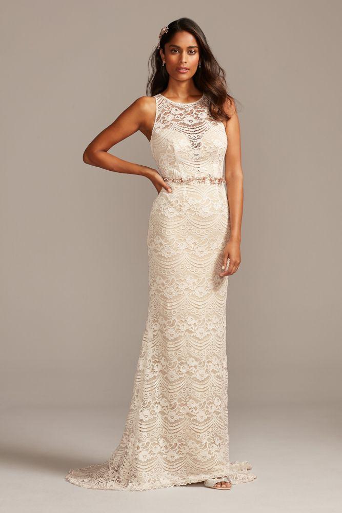 Plunge Illusion Chantilly Lace Wedding Dress Petite Wedding