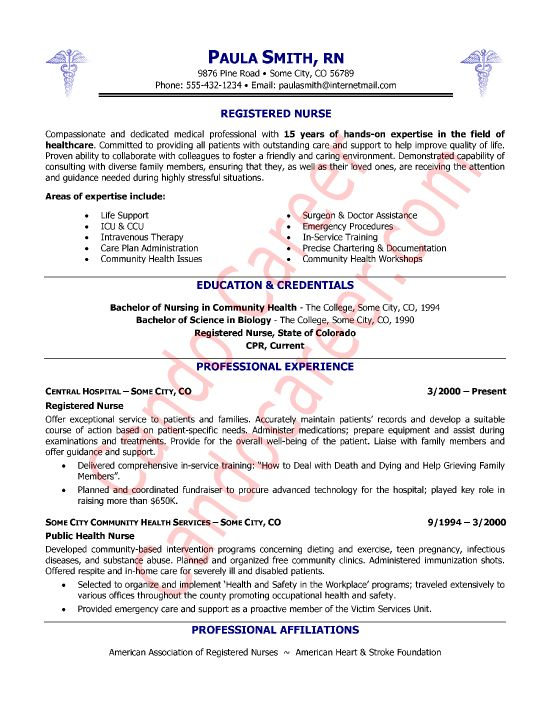 Example Of Nurse Resume. Registered Nurse Resume Examples - Nurse