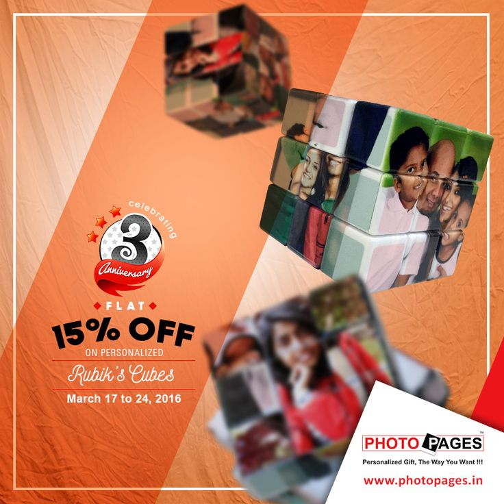 Twist those small moments that you shared with your loved one and turn it into a memory to cherish it. Gift a Rubik's cube, printed with your favorite photos on it. Personalized Rubik's Cube: http://ow.ly/Zxdns #Personalized #Gift #PersonalizedGift #RubiksCube #PersonalizedRubiksCube #PhotoPages #Anniversary