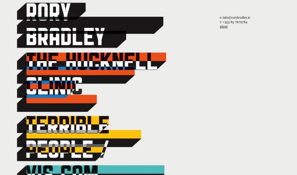 http://rorybradley.ie/ typographic, colorful
