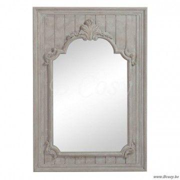 """J-Line Antieke houten spiegel met lelie antiek grijs hout 90x130 <span style=""""font-size: 0.01pt;"""">Jline-by-Jolipa-62741</span>"""