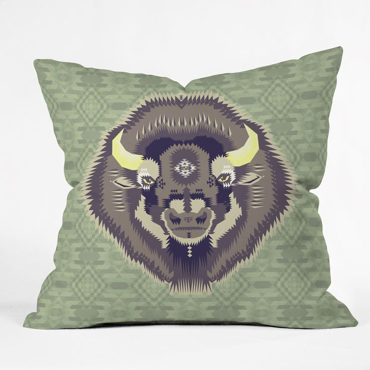 Chobopop Geometric Bison 2 Outdoor Throw Pillow | DENY Designs Home Accessories