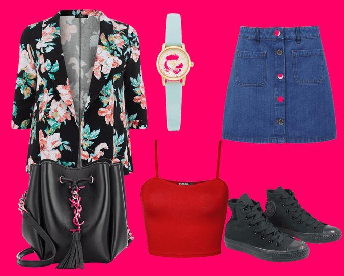 Пиджак с цветочным принтом, часы с ремешком мятного цвета, джинсовая юбка, черная сумка, красный топ и черные кеды