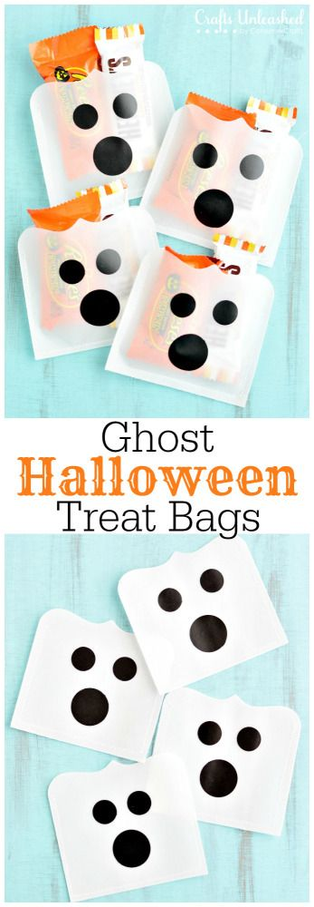 Halloween Treat Bags: Using vellum, vinyl and a sewing machine you can make these DIY ghost treat holders in a snap. They're the cutest little ghosts you'll see all season!
