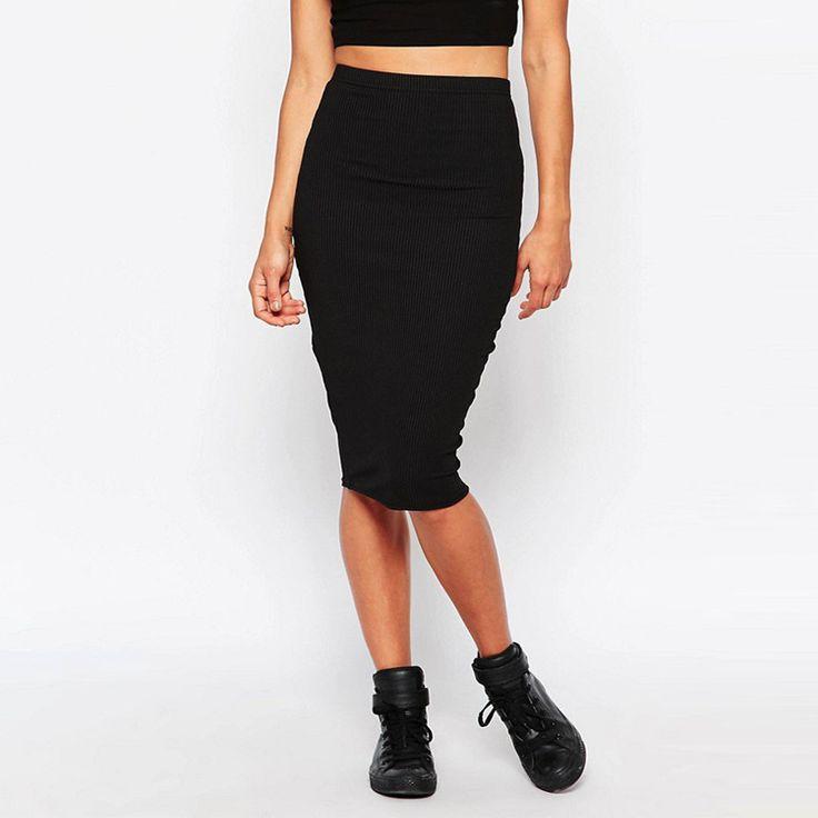 2017 Sexy Women Elegant High Waist Skirts Spring Autumn Slim Package Hip Bodycon Knee Length Office Black White Pencil Skirts