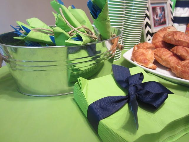 Blue and Green Baby Shower Decor