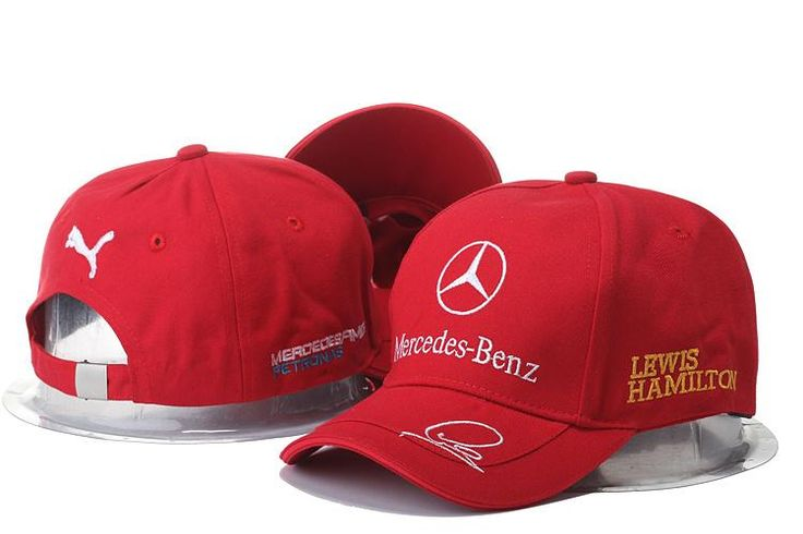 Mens / Womens Unisex Mercedes Benz x Puma AMG PETRONAS F1 LEWIS HAMILTON Baseball Adjustable CAP - Red / White