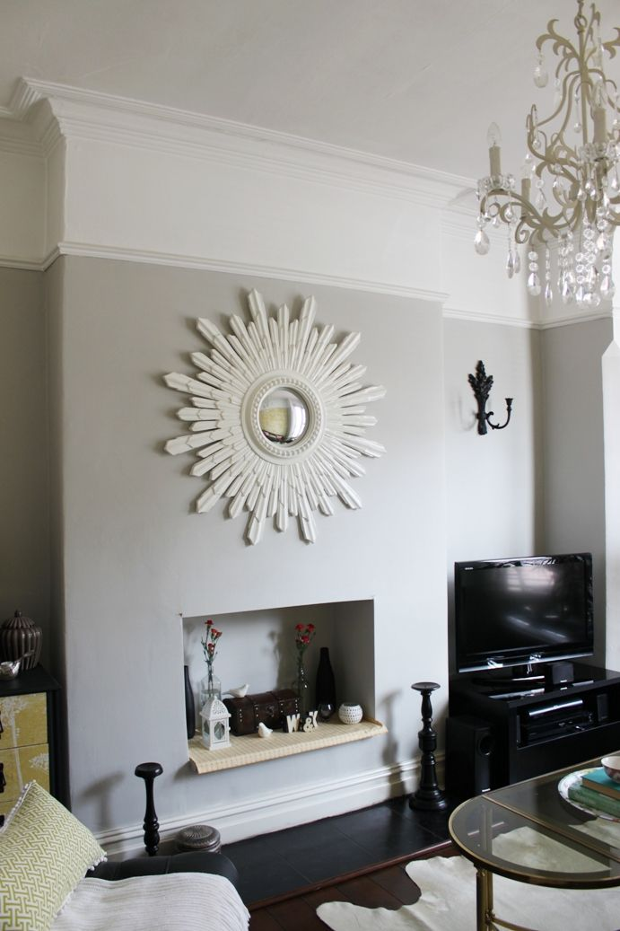Dulux Trade Dusted Moss 2 (like Cornforth White)  This faux fireplace cutout is adorable