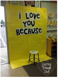 Have kids sit on chair and hold a chalkboard/sign which says what they love about their mom or dad, etc