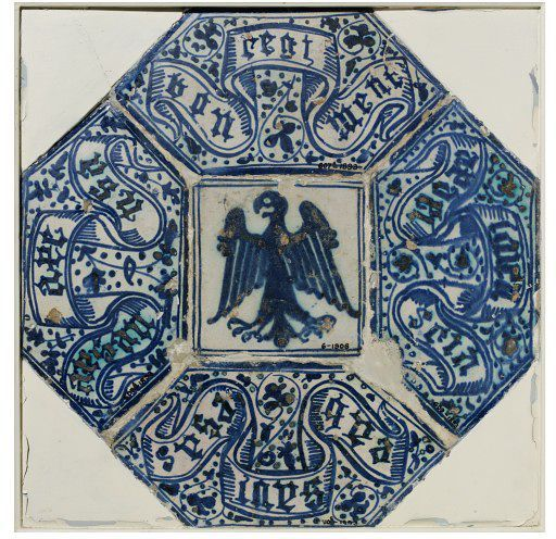 Tiles      Place of origin:      Manises, Spain (probably, made)     Date:      ca. 1400-1450 (made)     Artist/Maker:      Unknown (production)     Materials and Techniques:      Tin-glazed earthenware     Museum number:      607A, 608A, 609, 610E-1893