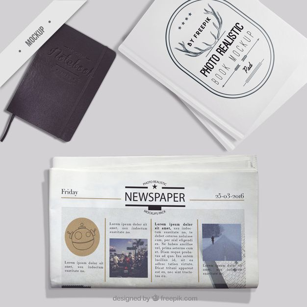 Download Mockup Of Newspaper With Notebook And Photo Book Free Psd In 2020 Free Mockup Photo Book Mockup Free Download