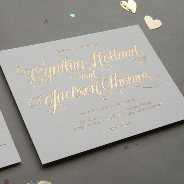 Gold Foil Wedding Invitation | Steel Petal Press