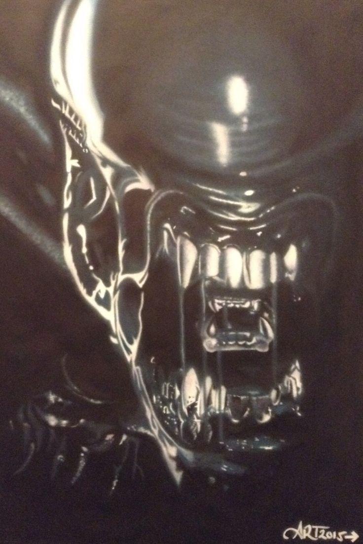 Alien (Alien vs Predator) Airbrush Artwork Airbrushed by Allysha Taylor  #alien #alienvspredator #avp #airbrushart #airbrushing #art #airbrushartist #repin #artwork #realismart