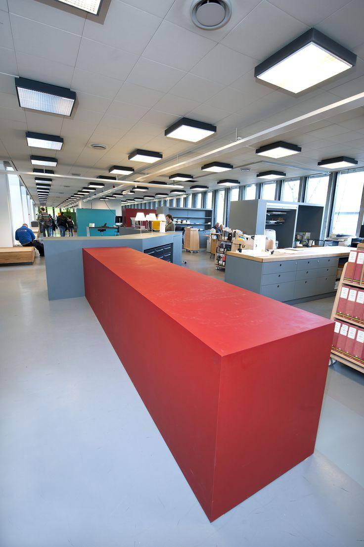Library DTU – Danmarks Tekniske Universitet – counter – PO Inventar ¬– Arkitema - surface - Desktop - Furniture Linoleum - Forbo