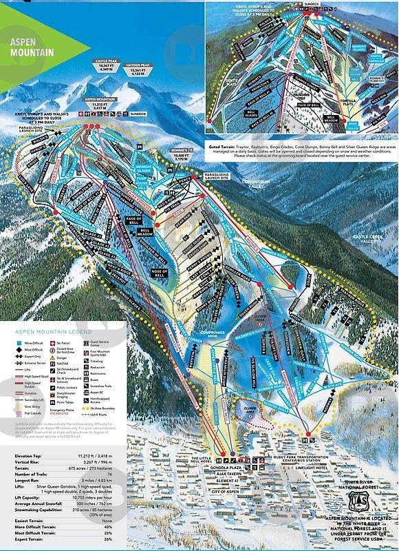 Aspen Mountain Ski Resort Trail Map Colorado Snowboard Mountain Colorado Skiing Colorado Trail Aspen Mountain
