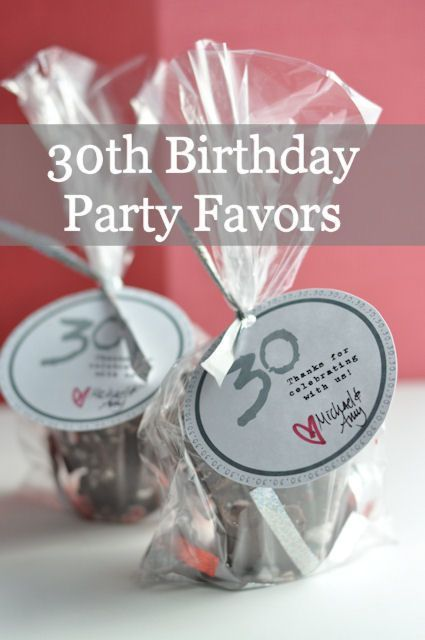 30th birthday party favors. Adorable candy favor bags and more!