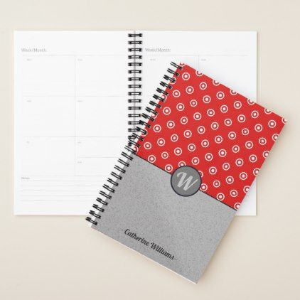Pattern Mix - Circles over Noise VZS2 Monogram Planner - red gifts color style cyo diy personalize unique