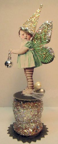 Christmas Fairy Silver Bell Altered aRt Collage Vtg Hand Made Mixed Media ooak. $19.99, via Etsy.