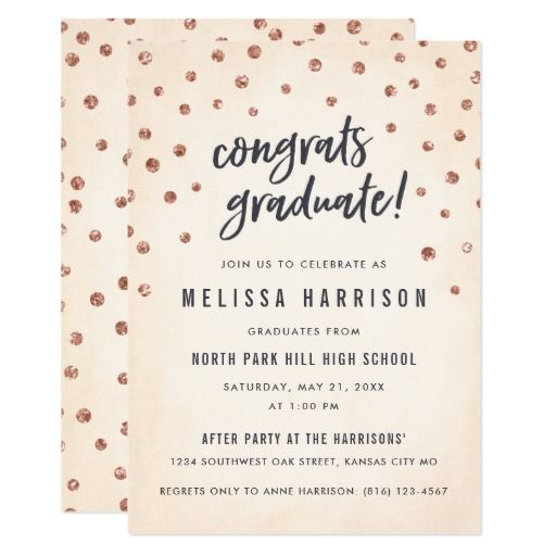 127 best cute graduation invitations images on pinterest cute rose gold polka dot graduation invitations stopboris Gallery