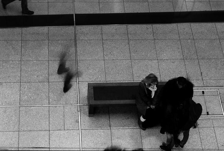 Dance. Leipzig, Germany, 2012, Canon EOS 600 D. #leipzig #mainstation #hauptbahnhof #shopping #bench #waiting #blackandwhite #trainstation #canon #canoneos600d