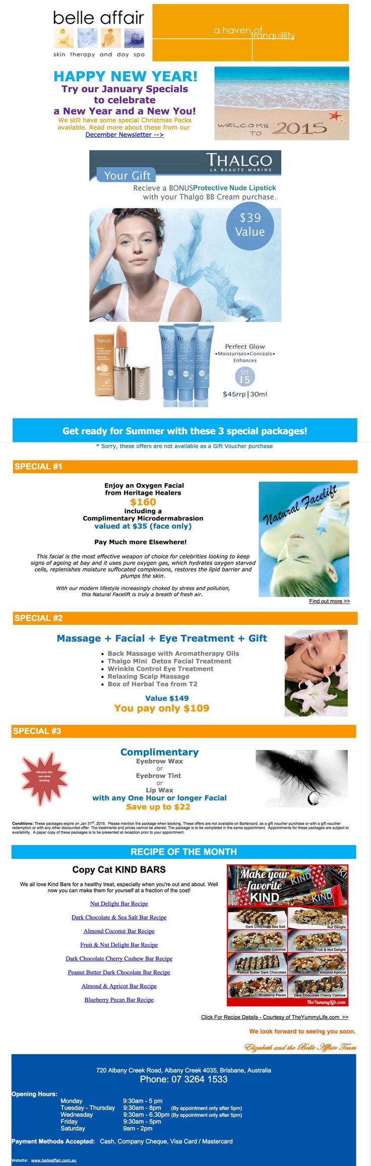 January Newsletter for Belle Affair. - massages - facials - thalgo products