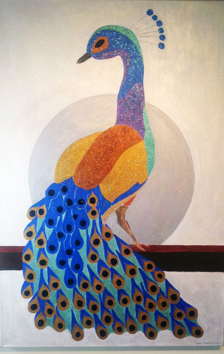 "Peacock  Metallic Acrylic and Glitter on Canvas  24"" x 36"": Art Gallery, Metallic Acrylic, Jerry Dreesen S, Canvas 24, Dreesen S Art"